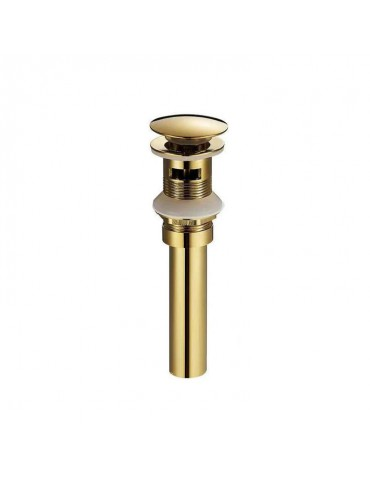 Drain for ceramic bassin with overflow, gold finish